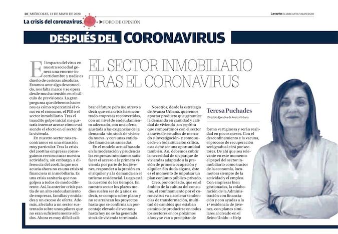 """Artículo de Teresa Puchades en el diario Levante: """"El sector inmobiliario tras el coronavirus"""""""